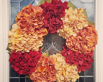 Fall Wreath, Faux Hydrangeas and Leaves on Natural Grapevine Wreath.