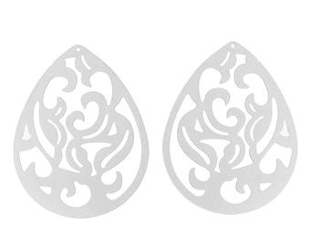 5 pendants filigree drop 4cm stainless steel