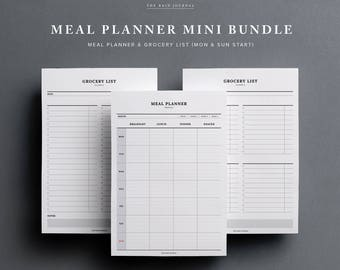 Meal Planner BUNDLE - Weekly Meal Planner and Grocery List | Weekly Menu Planner, Shopping List, Printable Planner, Weekly Food Planner