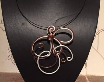 Bennett necklace brown copper and white