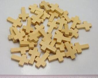 """Pendant / charm """"Cross"""" wood clear 22 X 15 mm • •"""