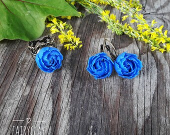 Blue peonies jewelry set from polymer clay, handmade peony,  polymer clay earrings, polymer clay ring, polymer clay flowers, gift idea.