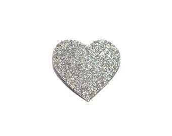 Silver glitter heart brooch