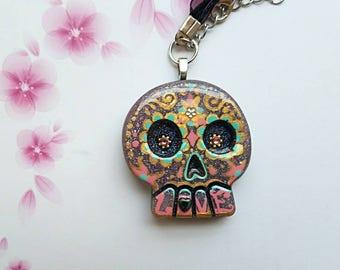 Love Sugar Skull Day of the Dead Necklace Pendant 1