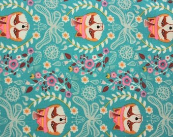 Hipster Fox, Vienna by Jolijou, Riley Blake Designs, Woodland, Foxes, Floral, Lightweight, Cotton, Crafting Quilting Sewing Baby, Half Metre