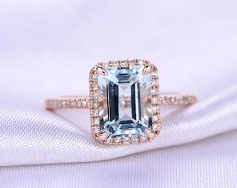 Natural Aquamarine Engagement Ring Emerald Cut Aquamarine Ring 5x7mm Gemstone Diamond Wedding Band Petit Ring Solid 14k Rose Gold Ring
