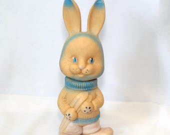 Rubber Toy Hare, Large Retro Rubber Rabbit, Vintage Soviet Toys,Bath toy