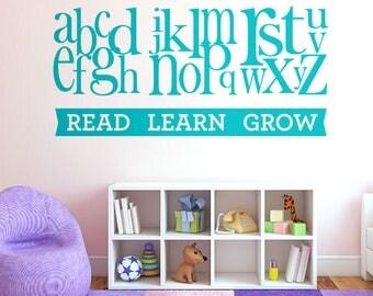 WD101170 | Alphabet Letters - Read Learn Grow - Children Nursery Room Wall Art Sticker