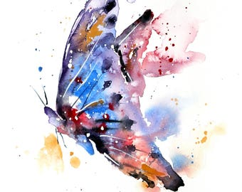 Butterfly Watercolor PRINT,  butterfly painting, butterfly wall hanging