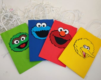 Sesame Street Treat Bags, Elmo, Cookie Monster, Big Bird, Oscar the Grouch, Sesame Street, Party Favors