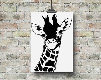 Giraffe Print, Giraffe Nursery, Giraffe Gift, Jungle Nursery Art, Safari Nursery, Safari Animal Print, Kids Art, Kids Print