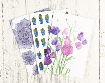 Pack of 3 Notebooks / Mother's Day / Cacti notepads / Sweet Pea Notebooks A6 / Succulent A6 Notebook / Gift For Her / Notebook Pack Deal A6