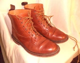 TRICKERS leather  Light Brown  BOOTS Shoes SIZE 11 Us ??? Made in England  Uk