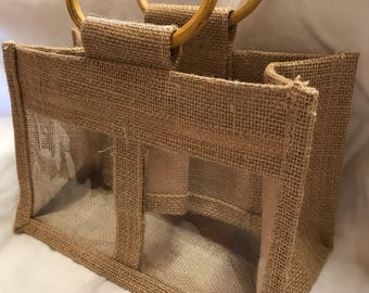 Window Jute Gift Bag Large, Gift Bag, Double Window, Wedding Favor Bag, Welcome Bag, Favors Bag, Rustic Gift Bag, Burlap Bag