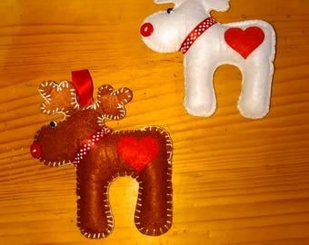 Handmade Reindeer Christmas X-Mas Decorations Kids Felt