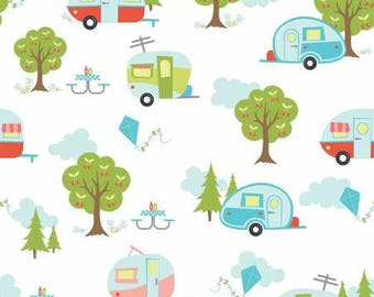 Riley Blake - Glamper Camper by Samantha Walker  6310 R White - 100% cotton fabric - Fabric by the yard(s)