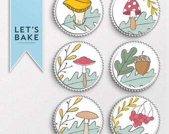 Foraging, Mushroom, Nature, Harvest,cupcake toppers,cake toppers,edible, rice paper cupcake toppers,cake,cupcake,thanksgiving cupcake topper