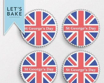 St George's day,cupcake topper,cake topper,rice paper,St George's day cupcake topper,St Georges day cake topper, cake, cupcake, England