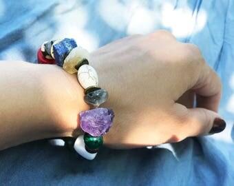 Gemstone big stone bracelet, Chunky bracelet, Womens beaded bracelet, Stretch bracelet, Beaded women bracelet, Gemstone Stretch Bracelet