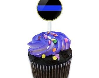 Thin Blue Line Cake Cupcake Toppers Picks Set