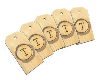 Letter T Typewriter Key Wooden Wood Gift Tag Set
