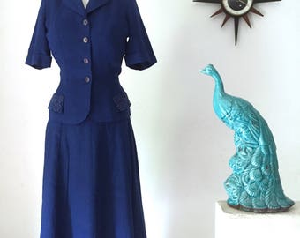 1940s navy blue Irish linen Summer Suit, New Yorker by David Jones with lace details