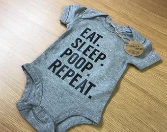 Eat Sleep Poop Repeat Baby Vest - Baby Girl Bodysuit, Baby Boy Bodysuit, Gifts For Baby Girl,New Baby Gift, Gifts For Boy, Funny Baby Vest