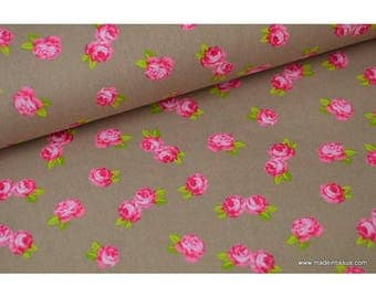 Pink background print cotton Poplin beige x50cm