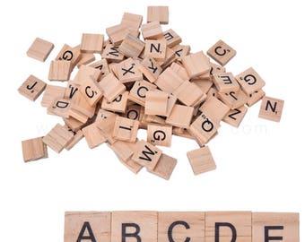 500pcs Scrabble Wooden Letter Tiles Wood Scrabble Coaster Pendant Craft Scrapbooking Wedding Tags Pack