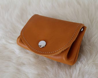 Orange, yellow leather wallet leather wallet. sunny yellow purse