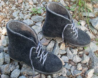 Sale Outdoor felted black boots with rubber soles. Organic wool womens shoes. Winter boots. Size 10