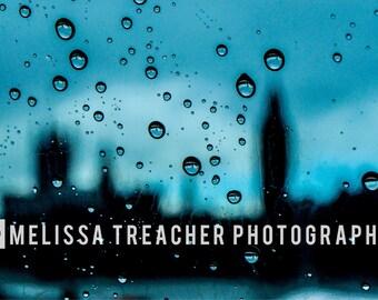 Parliament, Refraction, Silhouette, London Eye, Big Ben, London, Colour Photographic Print, Landscape Photography, Droplet, Rain, Home Decor