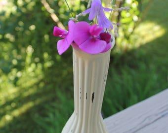 Yellow vase, Shabby chic-refurbished Aina