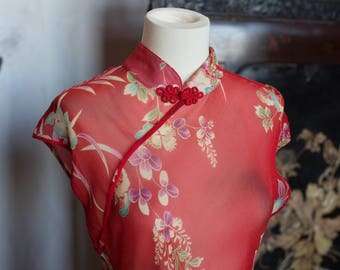 Floating Floral Red Silk Qipao