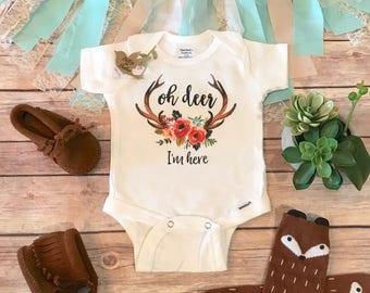 Oh Deer Im Here Onesie®, Hello Baby, Cute Baby Clothes, Baby Girl Clothes, Hippie Baby Clothes, Boho Baby Clothes, Antler Onesie,Trendy Baby