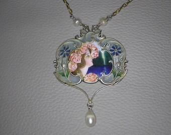 Art Nouveau Silver(900) Plique-a-Jour and enamelled necklace