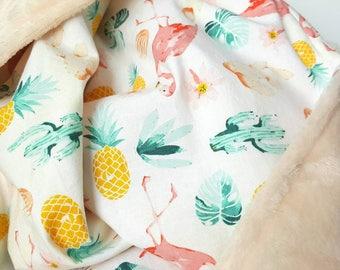 Minky baby blanket, desert nursery, cotton minky blanket, cactus baby blanket, minky blanket, baby gift, summer baby, flamingo, pineapple