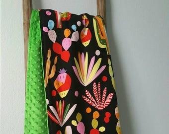 Cactus blanket, minky baby blanket, cotton and minky blanket, cactus baby blanket, soft minky blanket, baby gift, cactus nursery