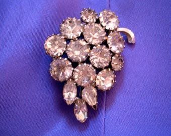 Grape cluster Rhinestone Brooch