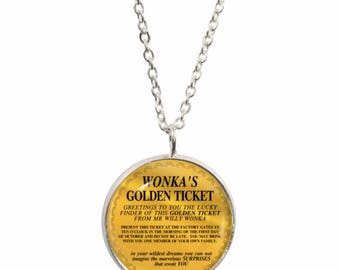 Golden Ticket Pendant and Silver Plated Necklace