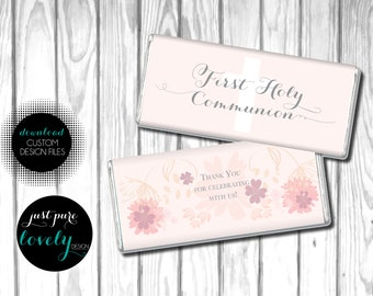 Girls's First Holy Communion Favor | Candy Bar Wrapper | Digital Download | Prinatble