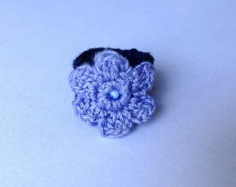 Blue ring with lilac flower crochet