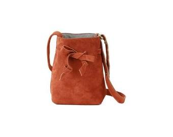 Mini Bucket Bag - Rust Suede