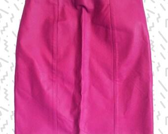 Fuchsia Leather Pencil Skirt