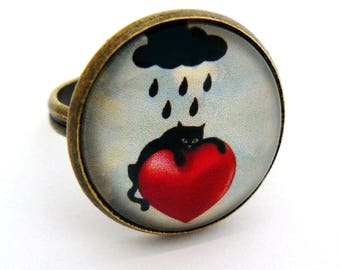 "Ring cabochon ""weather for the cat"""