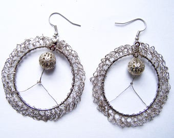 Hoop earrings crocheted metal