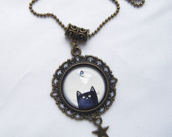 Black Cat pendant and Butterfly cabochon