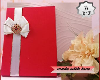 Luxury Holland red greeting cards'box. Photography box. Birthday card box with a brooch. Box with bow. Pearl box. Stationary box.