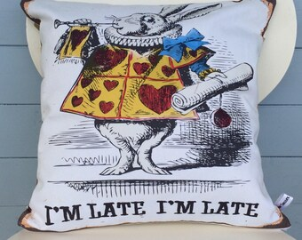White Rabbit Cushion , I'm Late, I'm Late Pillow, Alice in Wonderland Gift