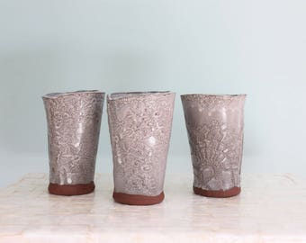 Set of three white lace vases | Handbuilt red earthenware vases